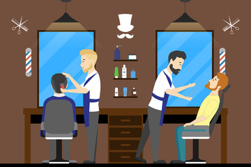 Barbershop salon inside. Male hairdressers with visitors. Styling beard. Chairs with mirrors.