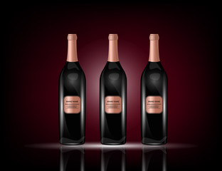 Red Wine Bottles on the Sparkling Background for Your Design.