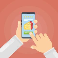 Buying tickets for cinema online through smartphone.