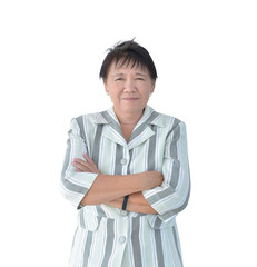 Elderly Asian Business woman smiling isolated on white background, clipping path inside