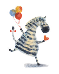 Zebra with balloons and heart. Watercolor illustration. Hand drawing