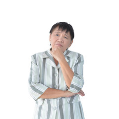 Elderly Asian Business woman thinking isolated on white background, clipping path inside