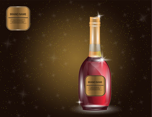Alcohol, Red Wine, White Wine Bottle on the Sparkling Background for Your Design.