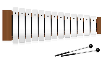 Glockenspiel or metallophone with thirteen metal bars and two percussion mallets - top view - isolated vector illustration on white background.