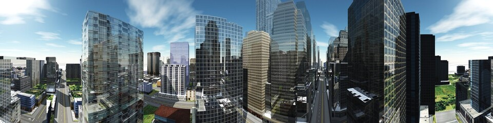 Panorama of a modern city, panorama of skyscrapers, 3d rendering