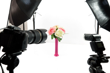 Bouquet of flowers in a photo studio