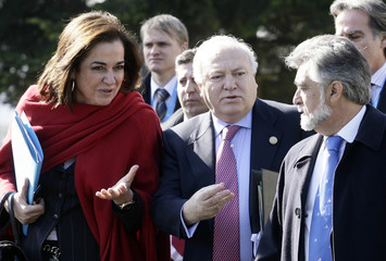 Foreign Ministers talk while arriving, on the second day of the Informal meeting of EU Ministers for foreign affairs in Brdo pri Kranju