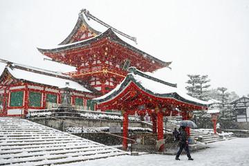 Heavy snow on Fushimi Inari Shrine, Kyoto, Japan, Asia