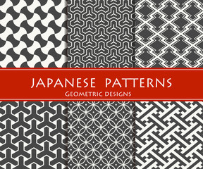 Japanese traditional patterns. Geometric designs.