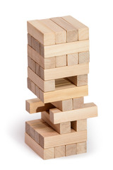 Wood blocks stack game, background concept