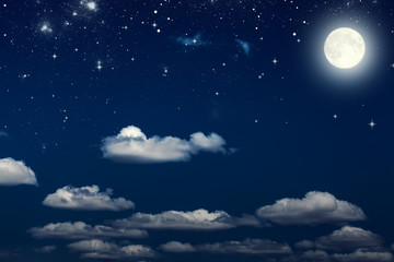 Printed roller blinds Night Night sky with stars and moon