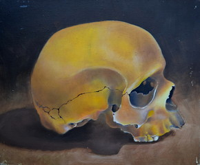 watercolor still life with skull and table