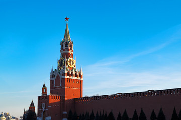 Kremlin in Moscow at sunset. Red Square, Russia