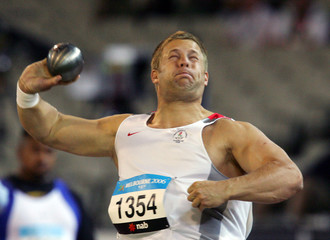 England's Rider competes in men's shot put final at Commonwealth Games in Melbourne