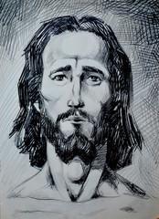 Jesus Christ portrait . Graphical illustration. St. person. Pencil,graphical portrait