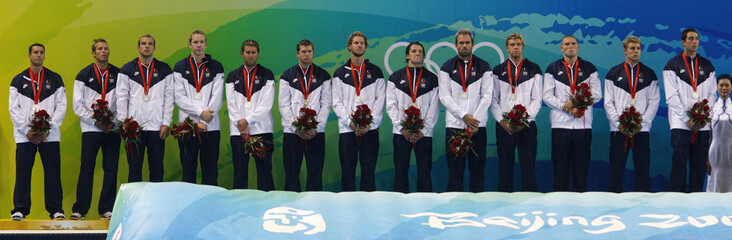 U.S. team stand with their silver medals in the men's water polo competition at the Beijing 2008 Olympic Games