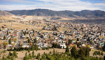 High Angle Overlook Walkerville Butte Montana Downtown United States
