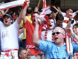 STANDARD'S SUPPORTERS SHOUT AHEAD OF THE BELGIAN CUP FINAL AGAINST GENK AT THE KING BAUDOUIN ...