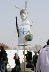 A rabbit puppet with the NATO symbol is placed in the anti-NATO demonstrators' camp in Strasbourg