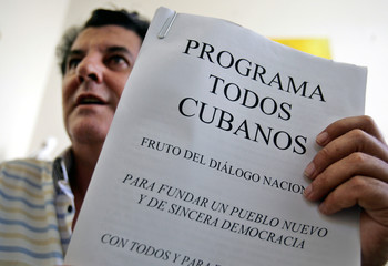 """Pro-democracy activist and head of Varela Project Paya holds proposals for peaceful transition """"Program All Cubans"""" during interview with Reuters in Havana"""