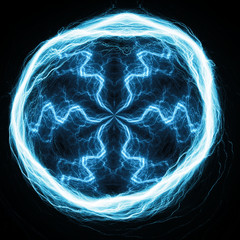 Blue ball lightning, abstract electric element