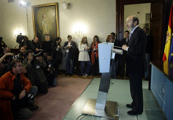 Spanish Interior Minister  Rubalcaba holds a news conference in Madrid