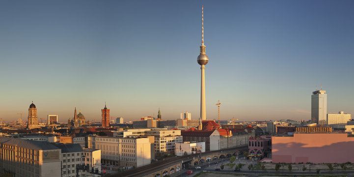 View over Alexanderstrasse to TV Tower, Rotes Rathaus (Red Town Hall), Hotel Park Inn and Alexa shopping center, Berlin, Germany