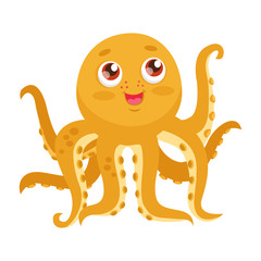 Vector Octopus Tentacle. Cartoon Yellow Octopus Vector. Funny Smiles Octopus Baby. Cute Marine Character On A White Background.