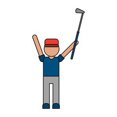 color image cartoon faceless full body golfer man with golf club vector illustration