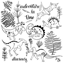 Dinosaurs and ancient plants, isolated elements for design on a white background. Vector set, hand drawn illustration.