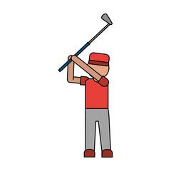 color image cartoon faceless full body golfer man in golf shot vector illustration