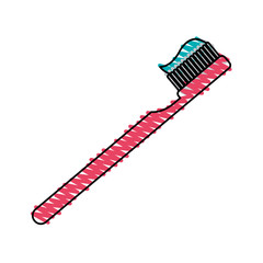 color crayon stripe cartoon side view toothbrush with toothpaste vector illustration