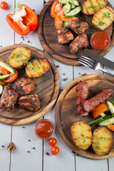 Set of grilled meat
