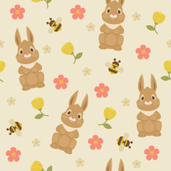 Rabbit/bunny and bumble bee seamless pattern.