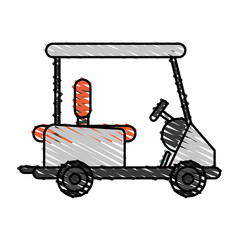 color crayon stripe cartoon golf cart vehicle vector illustration