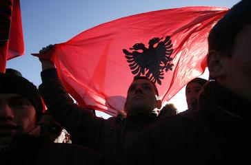 Kosovo's Albanians celebrate in the centre of Pristina