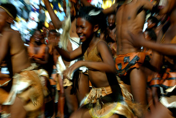 BAFOKENG CHILDREN DANCE TO CELEBRATE THEIR KING'S CORONATION INPHOKENG.