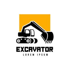 excavator vector emblem logo template isolaed on white background