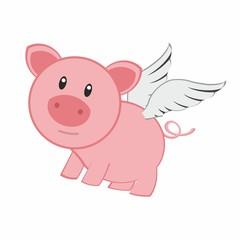 pig angel - cartoon pig