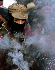 Zapatista rebel leader subcomandante Marcos arrives at a welcoming ceremony  at the Zapatista villag..