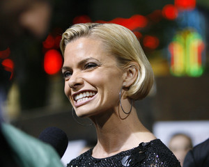 Jaime Pressly smiles as she is interviewed at the premiere of the movie I Love You, Man at the Mann's Village theatre in Los Angeles