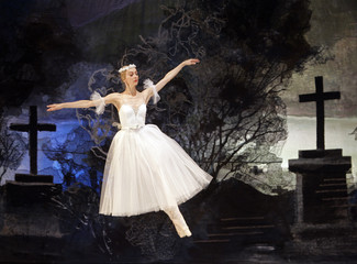 """A ballerina of Moscow's Classical Ballet company performs during their dress rehearsal of """"Giselle"""" in Madrid"""