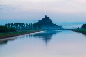 .Idyllic Sunrise at Mont Saint-Michel Abbey, Normandy, France, Western Europe