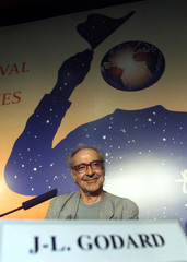 SWISS DIRECTOR JEAN LUC GODARD AT 54TH CANNES FILM FESTIVAL.