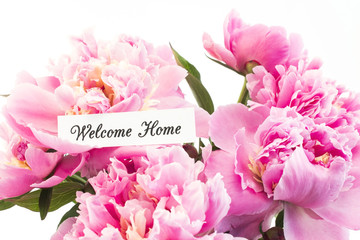 Welcome Home Card with Bouquet of Pink Peonies