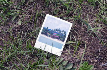 Photo card of the Tropical Island lies on the grass