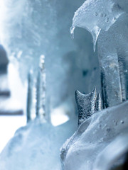 Close up of small ice formation