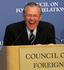 US Secretary of Defense Donald Rumsfeld laughs during a lecture at the Council on Foreign Relations in New York