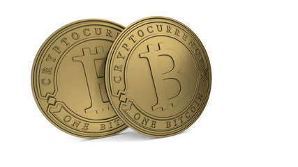 Golden Bitcoin coin. 3D rendering. Paths included