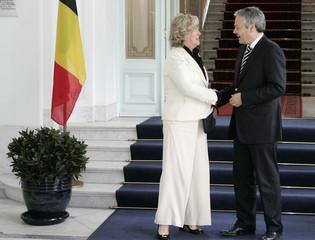 Belgium's MR President Reynders meets with Belgium's Senate President Lizin in Brussels